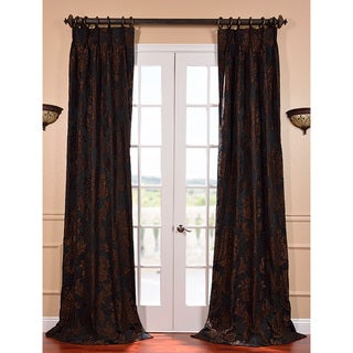 Magdelena Black Cognac French Pleat Jacquard Curtain Panel