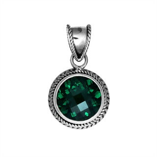 Sterling Silver Bali Faceted Gemstone Round Rope Bezel Pendant (Indonesia)