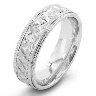Stainless Steel Men's Crucible Diamond Pattern and Milligrain Edge Ring