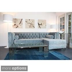 Decenni Custom Furniture 'Tobias' Wedgewood Blue Tufted 8-foot Sectional Sofa