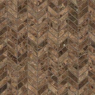 Emperador Dark Marble Chevron Mosaic Polished Tiles (Box of 10 Sheets)