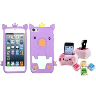 Insten Purple Piggy iPod Case Cover/ Plush Holder for Apple iPod Touch 5th/ 6th