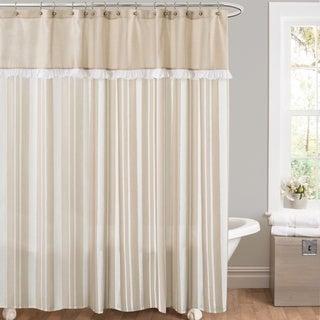 Lush Decor Rowan Taupe Striped And Pieced Shower Curtain