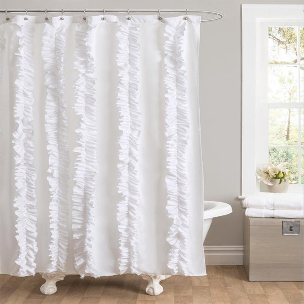 Lush Decor Belle White Ruffled Shower Curtain Overstock
