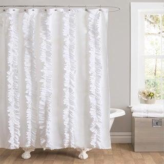 Lush Decor Belle White Ruffled Shower Curtain