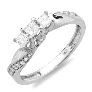 10k White Gold 1/2ct TDW 3-Stone Swirl Design Diamond Ring (H-I, I1-I2)