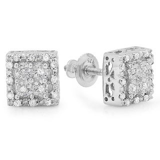 Sterling Silver 1/6ct TDW Diamond Square Stud Earrings (I-J, I2-I3)
