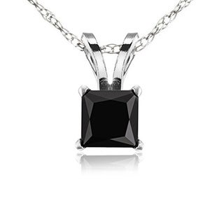 14k White Gold 1ct TDW Black Diamond Solitaire Pendant