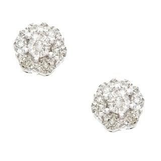 10k White Gold Diamond Accent Flower Cluster Earrings