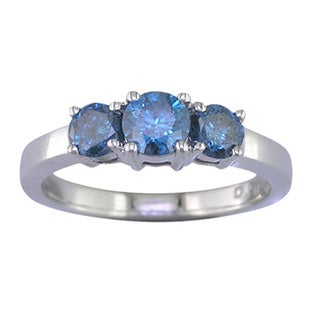 Sterling Silver 1/4ct TDW Three Stone Blue Diamond Engagement Ring