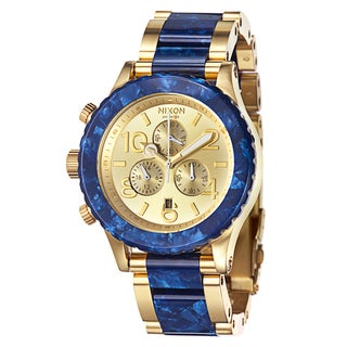 Nixon Men's 'The 42 20' Stainless Steel Yellow Goldplated Chronograph Watch