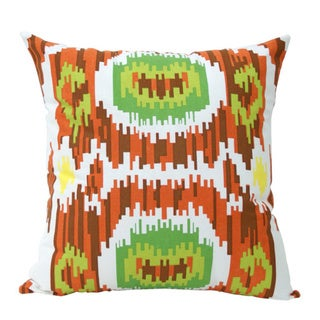 Bright Blocky Hand-Woven Ikat Decorative Pillow (India)