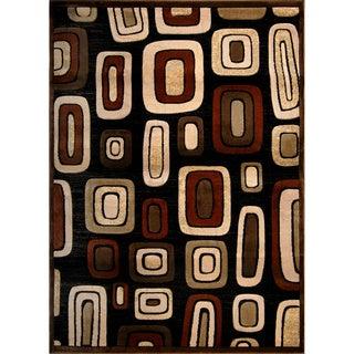 Hand-carved Modern Element Black/ Brown Rug (7'8 x 10'2)