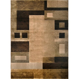 Hand-carved Modern Element Beige/ Brown Rug (7'8 x 10'2)