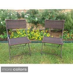 International Caravan Resin Wicker Outdoor Folding Chairs (Set of 2)