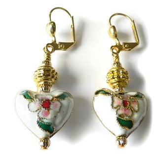 Palmtree Gems 'Vanessa' Cloisonne Heart Dangle Earrings