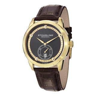 Stuhrling Original Men's Circuit Automatic Brown Leather-strap Watch