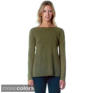 AtoZ Women's Antique Wash Long Sleeve Flared Top