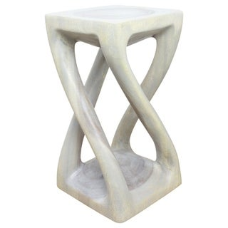 Hand-carved 12 x 22 Agate Grey Oiled Vine Twist Stool (Thailand)