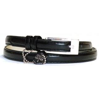 Women's Black Leather Skinny Belt