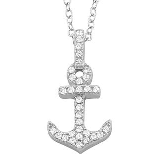 Fremada Rhodium Plated Sterling Silver Cubic Zirconia Anchor Necklace