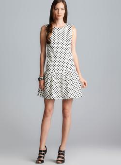 Donna Morgan Drop Waist Pleated Polka Dot Dress