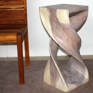 Hand-carved 12 x 26 Agate Grey Oiled Double Twist Stool (Thailand)