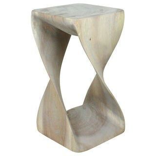 10-Inches Square x 18 Inches High Agate Grey Twist Stool (Thailand)
