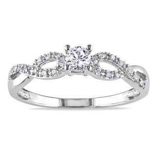 Miadora Silver Created Sapphire and 1/10ct TDW Diamond Promise Ring (H-I, I2-I3)