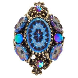 Sweet Romance Vintage Peacock Glass Pinwheel Ring