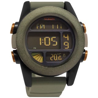 Nixon Men's The Unit A1971265-00 Green Silicone Quartz Watch with Digital Dial
