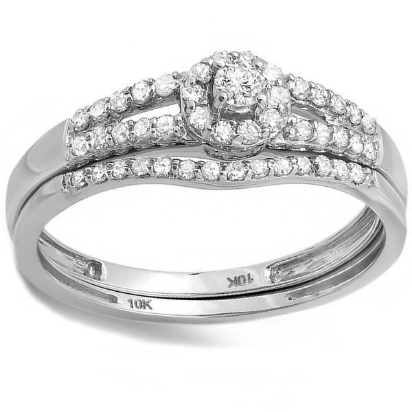 10k White Gold 2/5ct TDW Diamond Halo Bridal Ring Set (H-I, I1-I2)