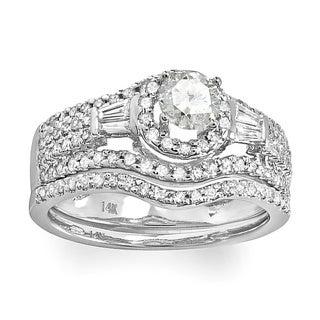 14k White Gold 1ct TDW Diamond Halo Bridal Ring Set (H-I, I1-I2)