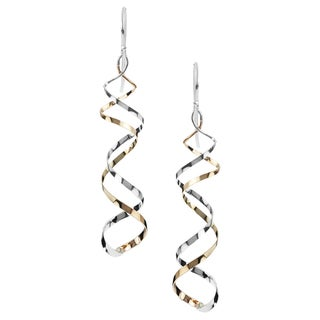 Journee Collection Sterling Silver Handcrafted Spiral Dangle Earrings