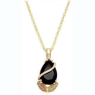 Black Hills Gold Onyx Teardrop Necklace