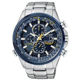 Citizen Men's AT8020-54L Eco-Drive Chronograph Blue Dial Silver-Tone Strap Watch