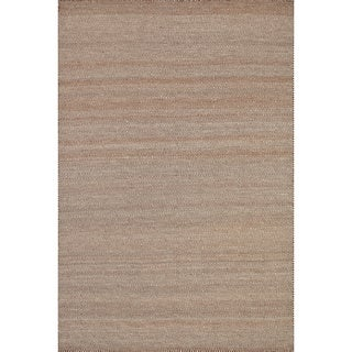 Hand-woven Poplin Rust Wool/ Cotton Rug (7'10 x 11)