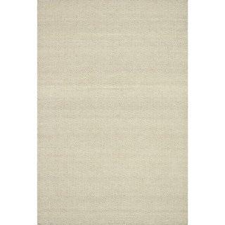 Hand-woven Poplin Beige Wool/ Cotton Rug (3'6 x 5'6)