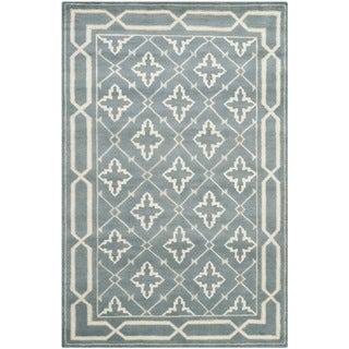 Safavieh Hand-knotted Mosaic Blue/ Beige Wool/ Viscose Rug (9' x 12')