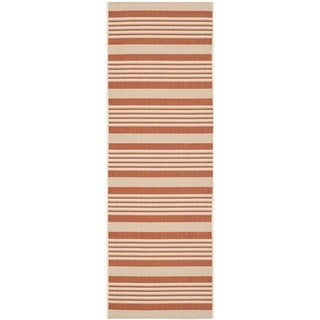 Safavieh Indoor/ Outdoor Courtyard Terracotta/ Beige Runner Rug (2'3 x 6'7)