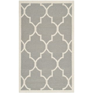 Safavieh Handwoven Moroccan Reversible Dhurrie Grey Wool Area Rug (4' x 6')