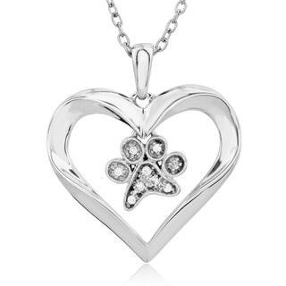 ASPCA Tender Voices Silver Diamond Accent Paw in Open Heart Necklace