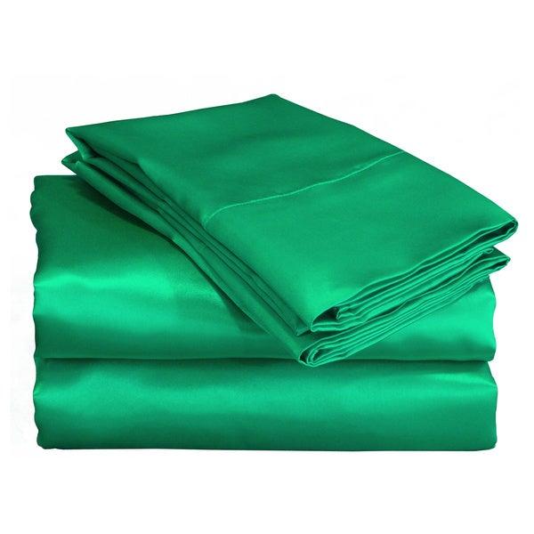 Charmeuse II Satin Emerald Green Sheet Set with Bonus Pillowcases