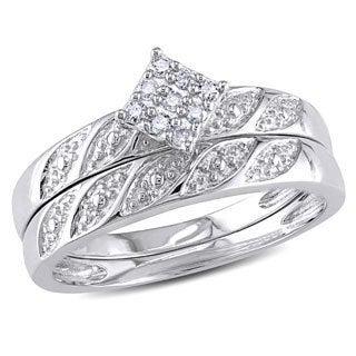 Haylee Jewels Sterling Silver 1/10ct TDW Diamond Bridal Ring Set (H-I, I2-I3)