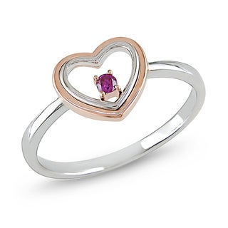 Haylee Jewels 10k White and Rose Gold Pink Diamond Heart Ring