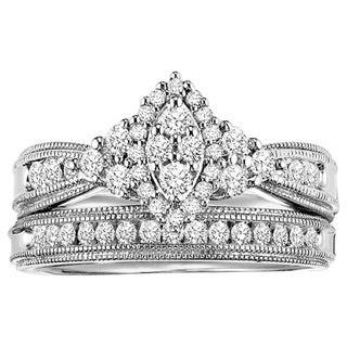 Cambridge Sterling Silver 5/8ct TDW Marquise 2-Piece Diamond Bridal Set (I-J, I2-I3)