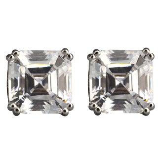 NEXTE Jewelry Sterling Silver Asscher-cut Cubic Zirconia Stud Earrings