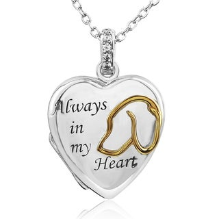 ASPCA Tender Voices Sterling Silver Diamond Accent Two-Tone Always in my Heart Locket (I-J, I2-I3)
