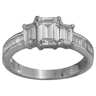 NEXTE Jewelry Sterling Silver Emerald-cut Cubic Zirconia Engagement-style Ring