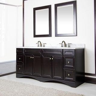 Corvus Espresso Cabinet with 72-inch Italian Carrera Marble Double Sink Vanity
